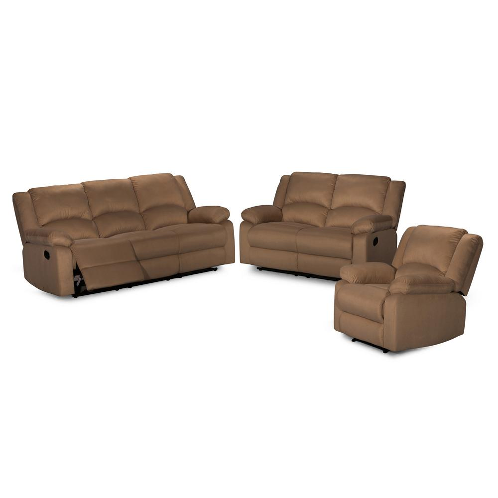 3-Piece Beige Sofa Set-S6026-3PC - The Home Depot