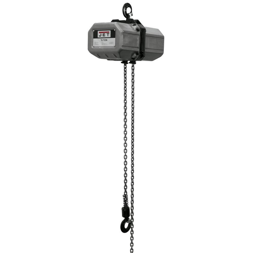 Jet 1/2-Ton Capacity 15 ft. Lift Electric Chain Hoist 1-Phase 115/230-Volt 1/2SS-1C-15