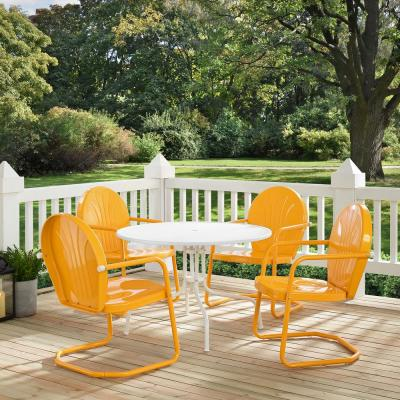 Griffith Tangerine 5-Piece Metal Round Outdoor Dining Set