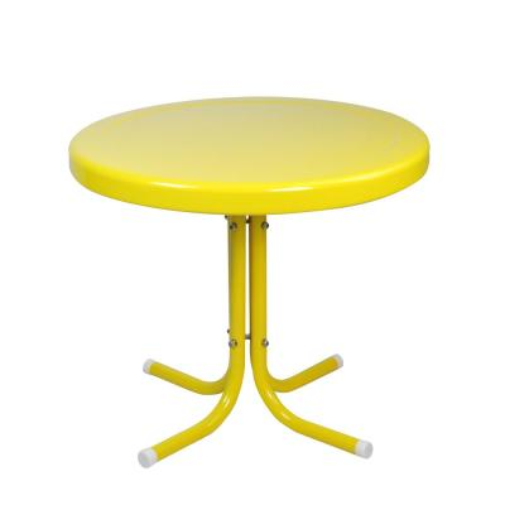 Yellow Metal 21.75 in. Retro Tulip Outdoor Side Table