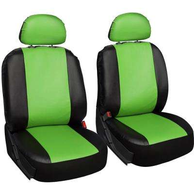 Polyurethane Seat Covers 21.5 in. L x 21 in. W x 31 in. H Seat Cover Set Green and Black (6-Piece)