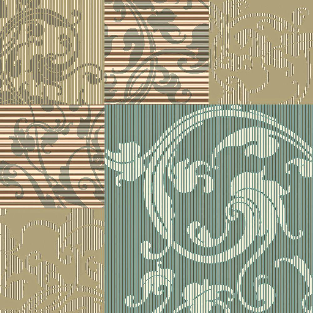 The Wallpaper Company 56 sq. ft. Teal, Taupe and Peach Modern Geometric with Classic Acanthus Leaf Overprint Wallpaper