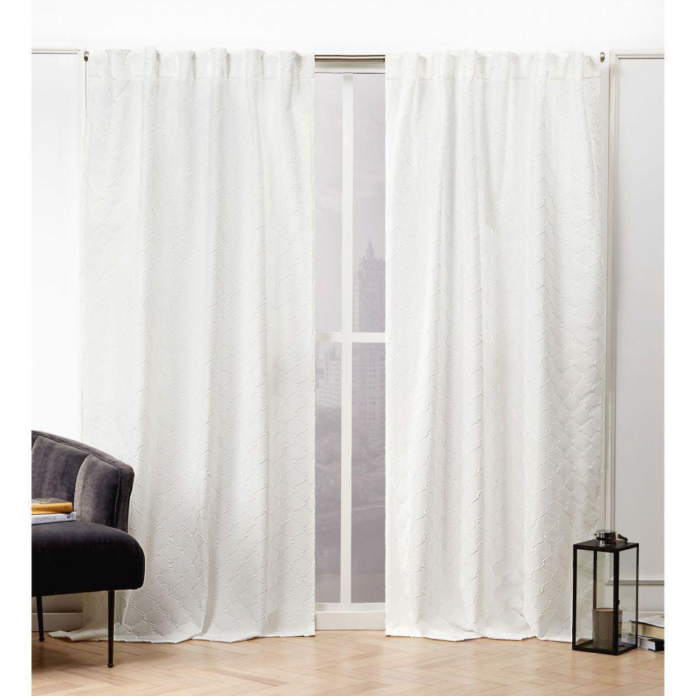 Trellis Matelass Snowflake Room Darkening Hidden Tab Top Curtain Panel - 54 in. W x 96 in. L   (2-Panel)