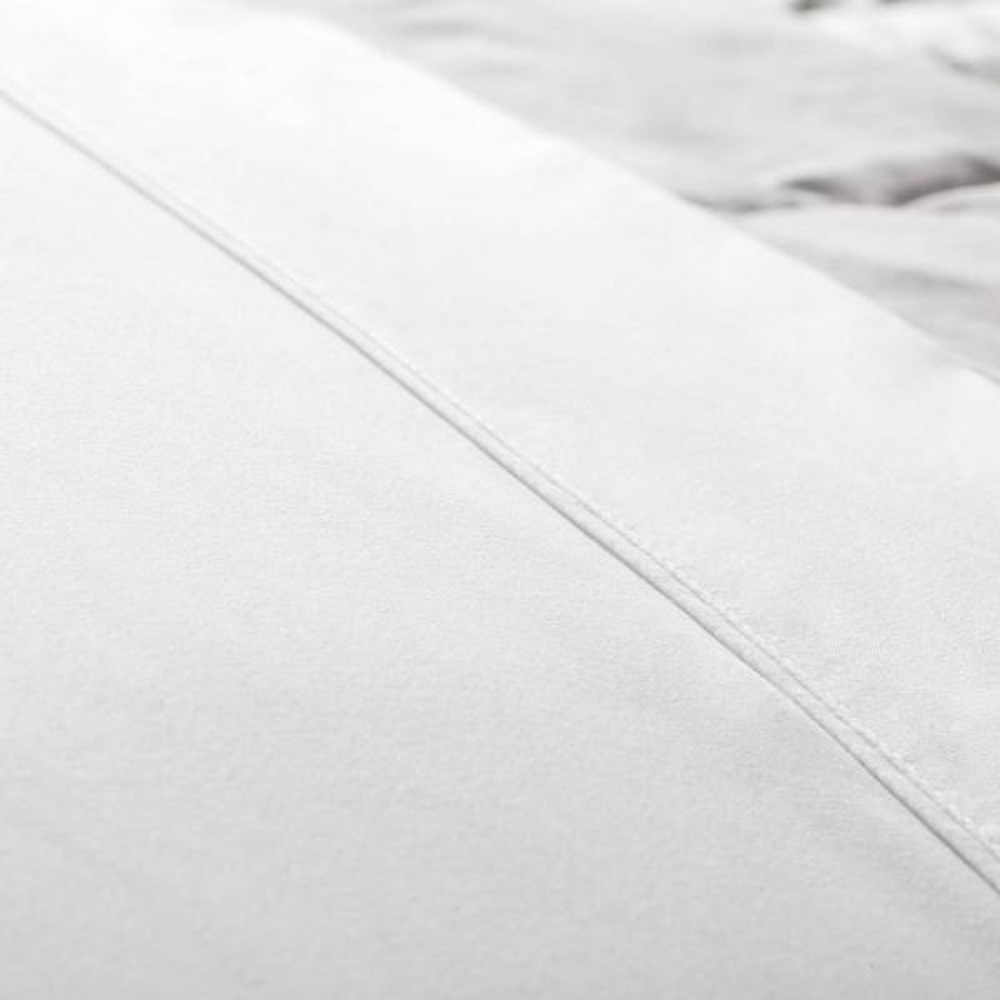 4-Piece White Solid Microfiber Queen Sheet Set