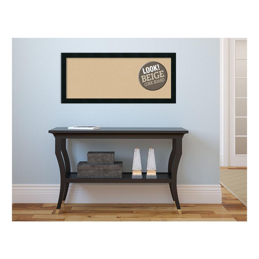 Mezzanotte Black Wood 32 in. x 14 in. Framed Beige Cork Board