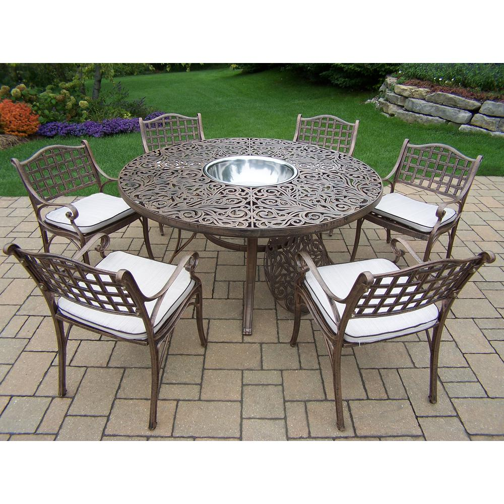 Bon 8 Piece Aluminum Outdoor Dining Set With Oatmeal Cushions AndStainless  Steel Ice Bucket