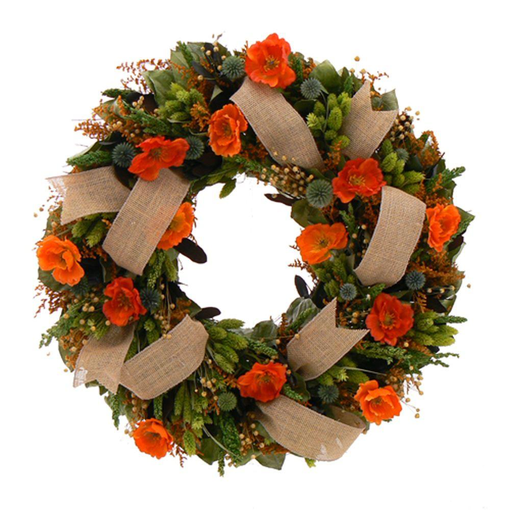 The Christmas Tree Company Splendid Poppy 22 in. Dried Floral Wreath-DISCONTINUED