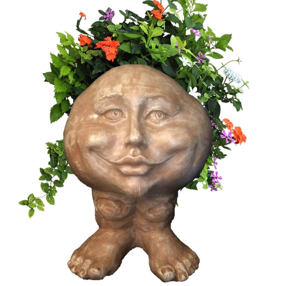 14 in. Stone Wash Mama Petunia the Muggly Statue Face Planter
