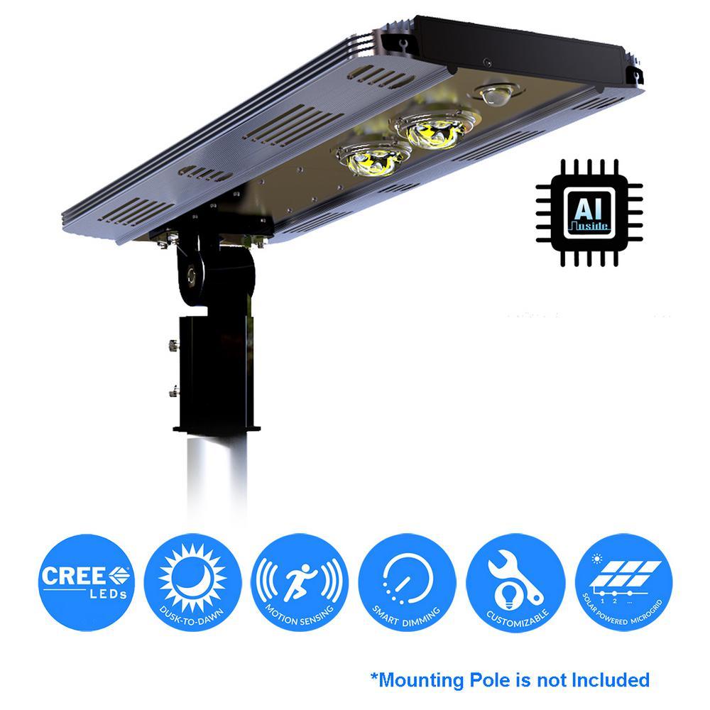 Solar Power AI SMART 2400 Lumens Brown Outdoor integrated CREE LED Motion Sensing Street Area Light