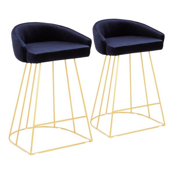 Canary 26 in. Blue Velvet and Gold Metal Upholstered Counter Stool (Set of 2)