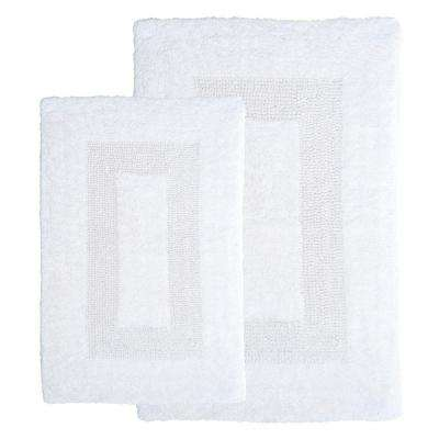 White 1 ft. 10 in. x 2 ft. 11 in. Cotton 2-Piece Bath Rug Set