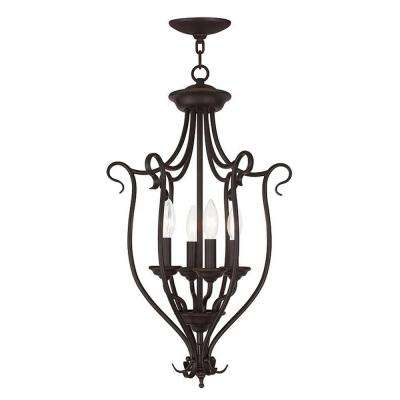 Coronado 4-Light Bronze Mini Chandelier with White Alabaster Glass Shade