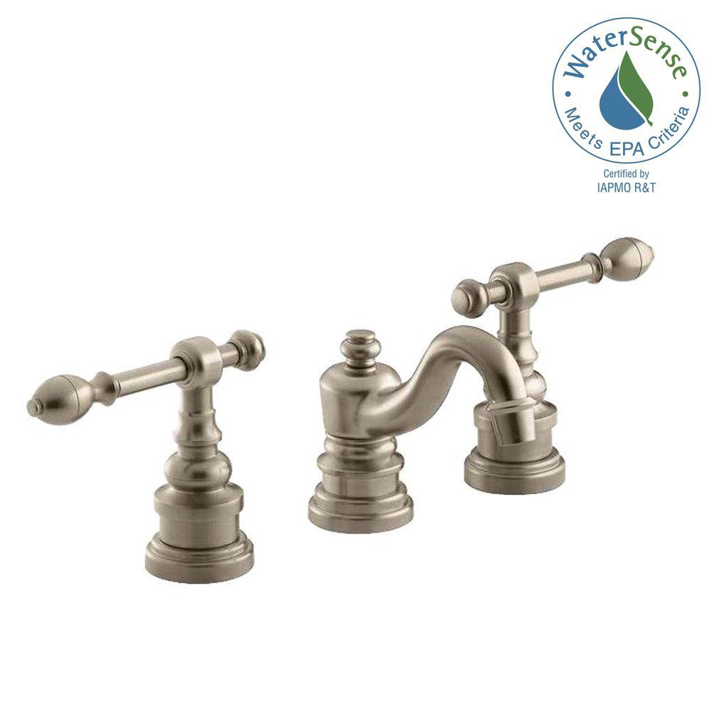Kohler iv georges brass 8 in widespread 2 handle low arc for Vibrant brushed bronze bathroom lighting