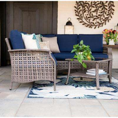 Concord 4-Piece Wicker Outdoor Sectional Set with Navy Cushions