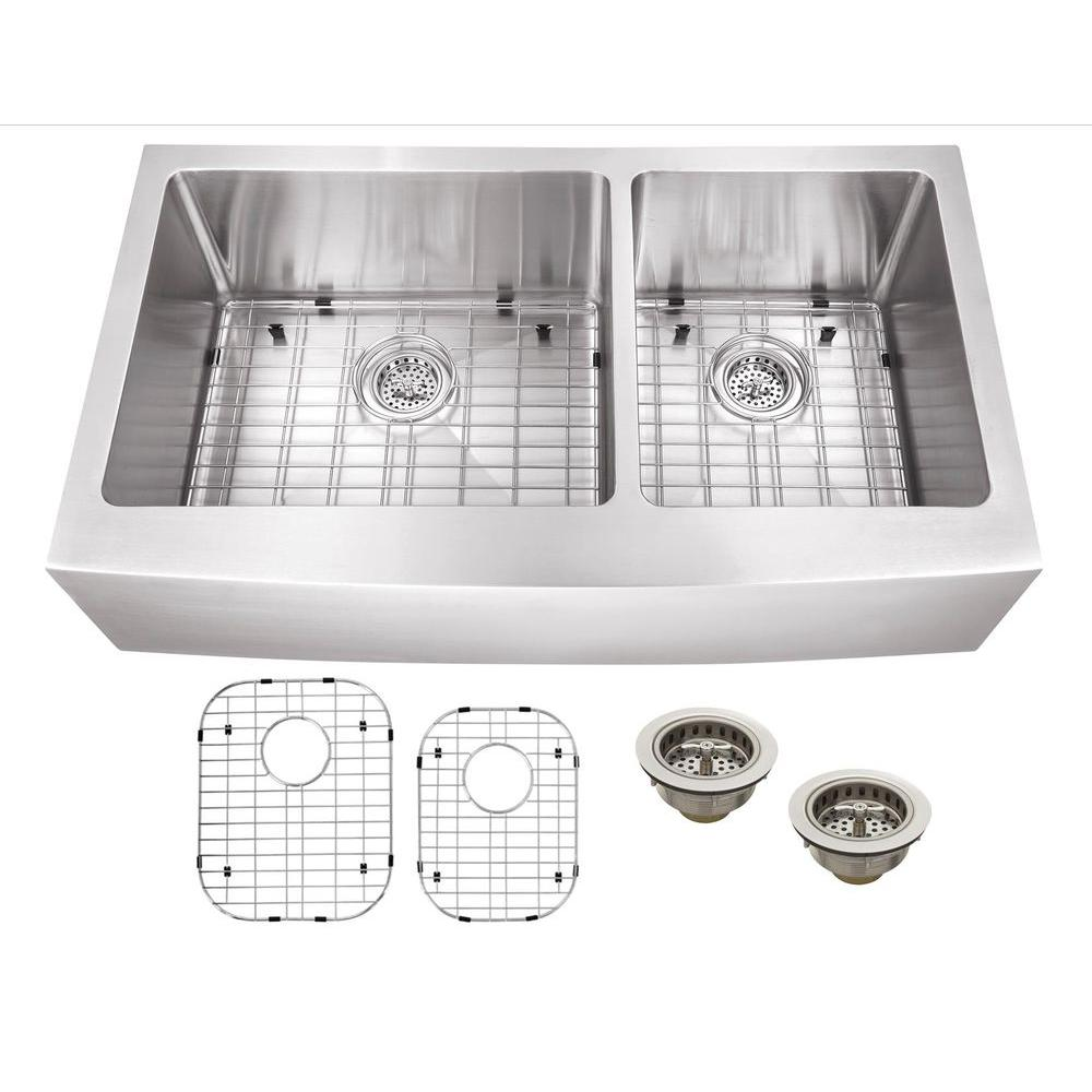 Medium image of schon all in one apron front stainless steel 36 in  double bowl kitchen sink scapl604016   the home depot