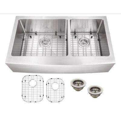 All-in-One Apron Front Stainless Steel 36 in. Double Bowl Kitchen Sink
