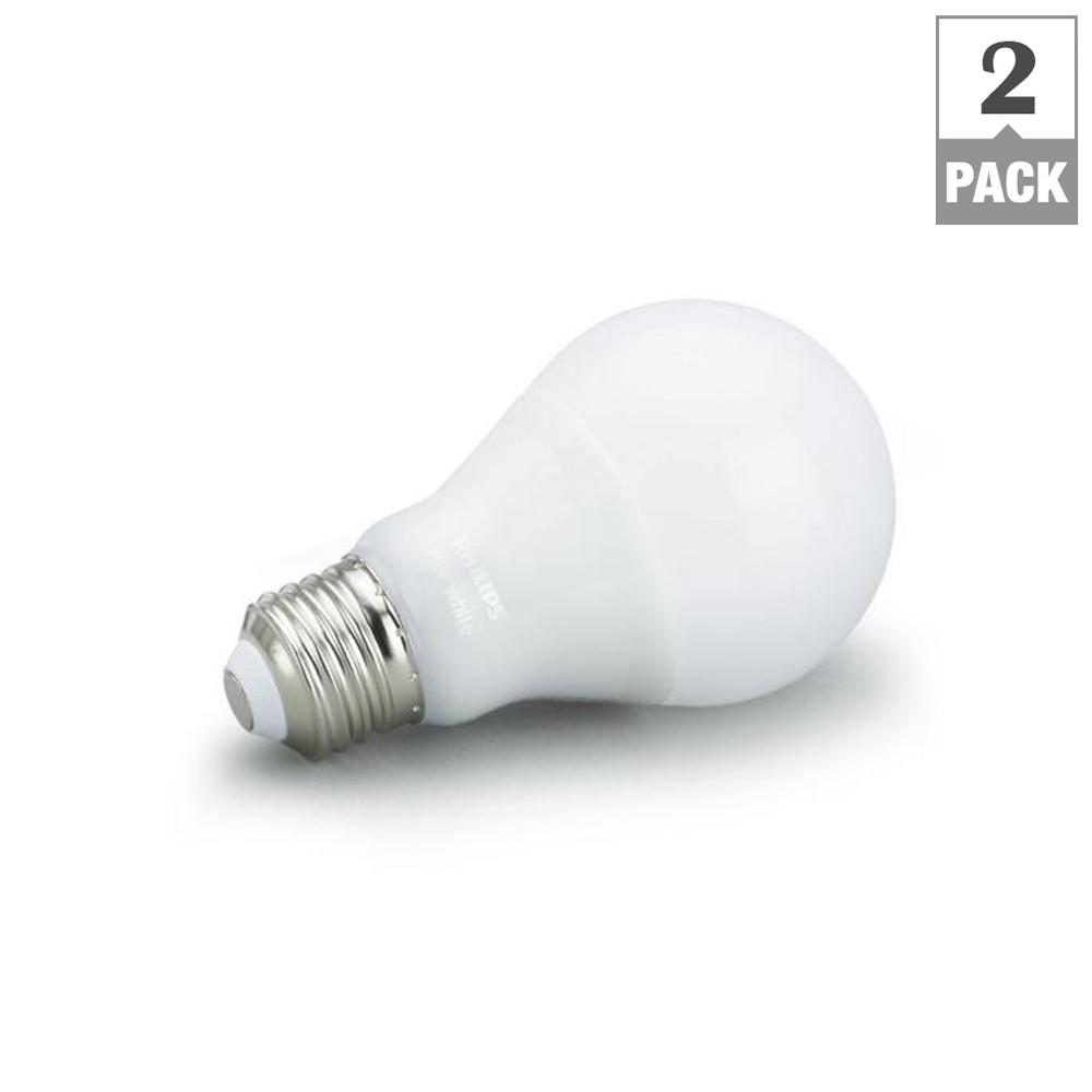 Hue White A19 LED 60W Equivalent Dimmable Smart Wireless Bulb (2