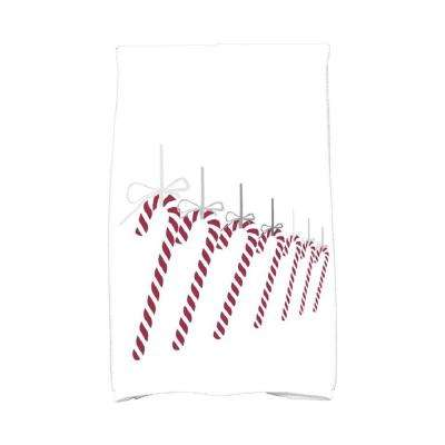 16 in. x 25 in. Gray Candy Canes Holiday Geometric Print Kitchen Towel