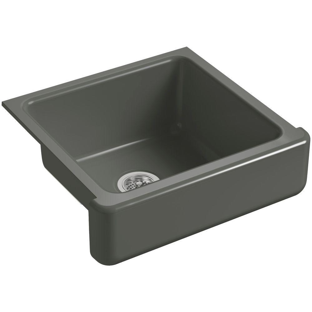 Kohler Whitehaven Farmhouse Short Apron Front Cast Iron 24 In Single Basin Kitchen Sink In Thunder Grey K 5664 58 The Home Depot