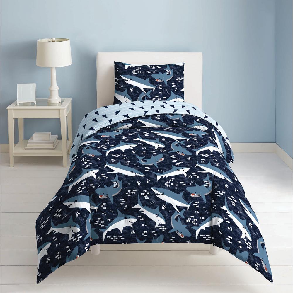Sharks 2-Piece Navy Sharks Twin Comforter Set