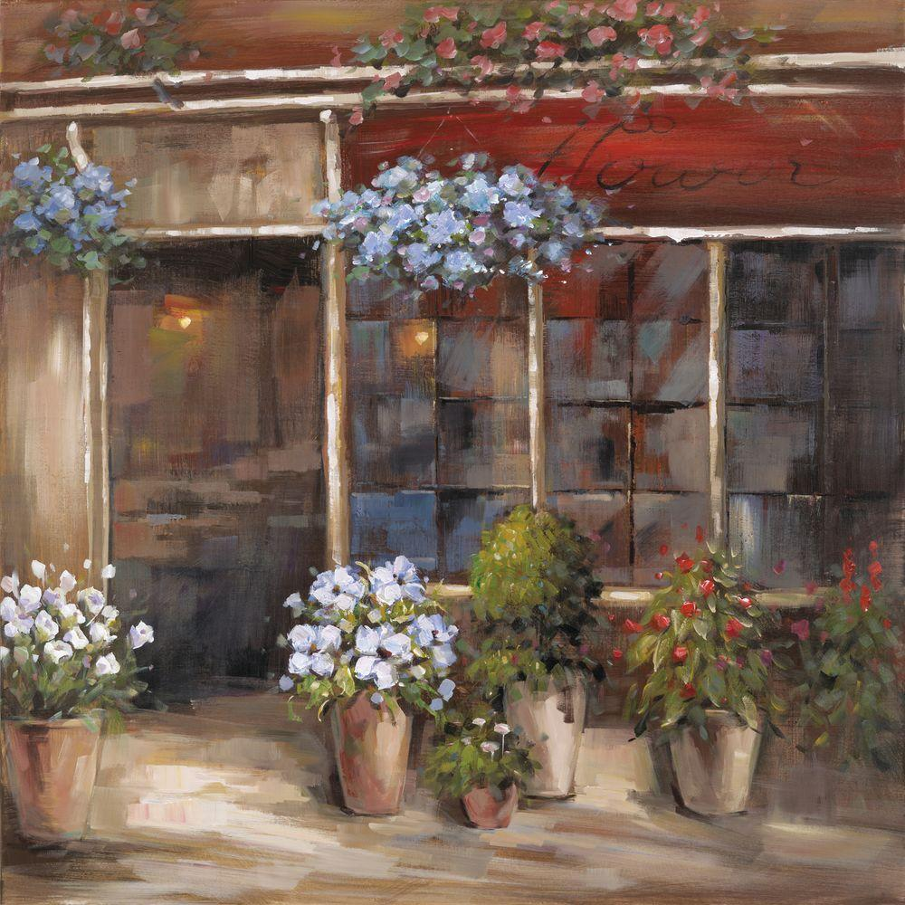 """Yosemite Home Decor 32 in. x 32 in. """"Flower Shoppe"""" Hand Painted Contemporary Artwork"""