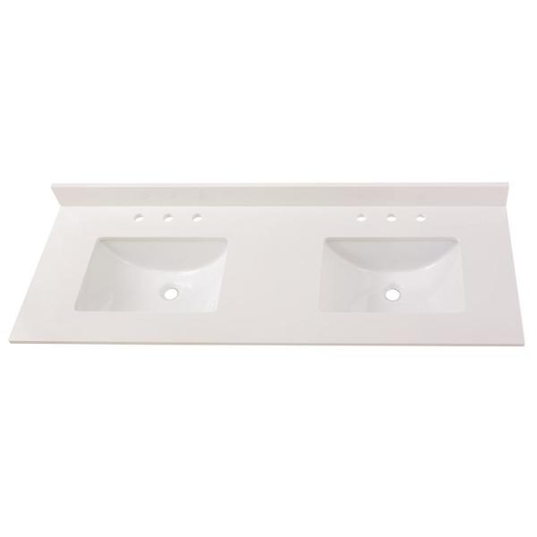 73 in. W x 22 in. D Engineered Marble Double Trough Sink Vanity Top in Winter White
