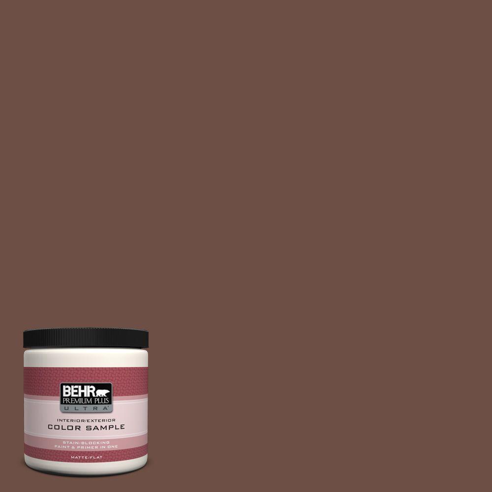BEHR Premium Plus Ultra 8 oz. #PMD-108 Double Chocolate Interior/Exterior Paint Sample
