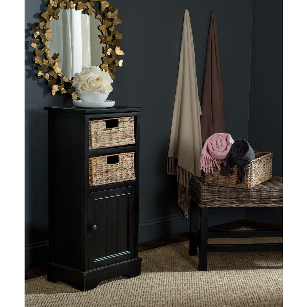 Distress Cabinets: Safavieh Connery Distressed Black Storage Cabinet-AMH5742A
