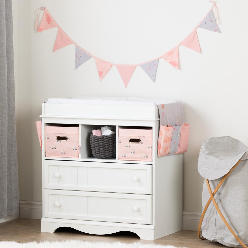Merveilleux South Shore Savannah Pure White And Pink Changing Table With Doudou The  Rabbit Runner And Pennant