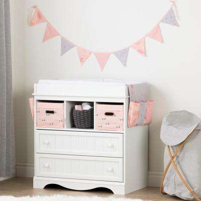 Savannah Pure White and Pink Changing Table with Doudou the Rabbit Runner and Pennant Banner