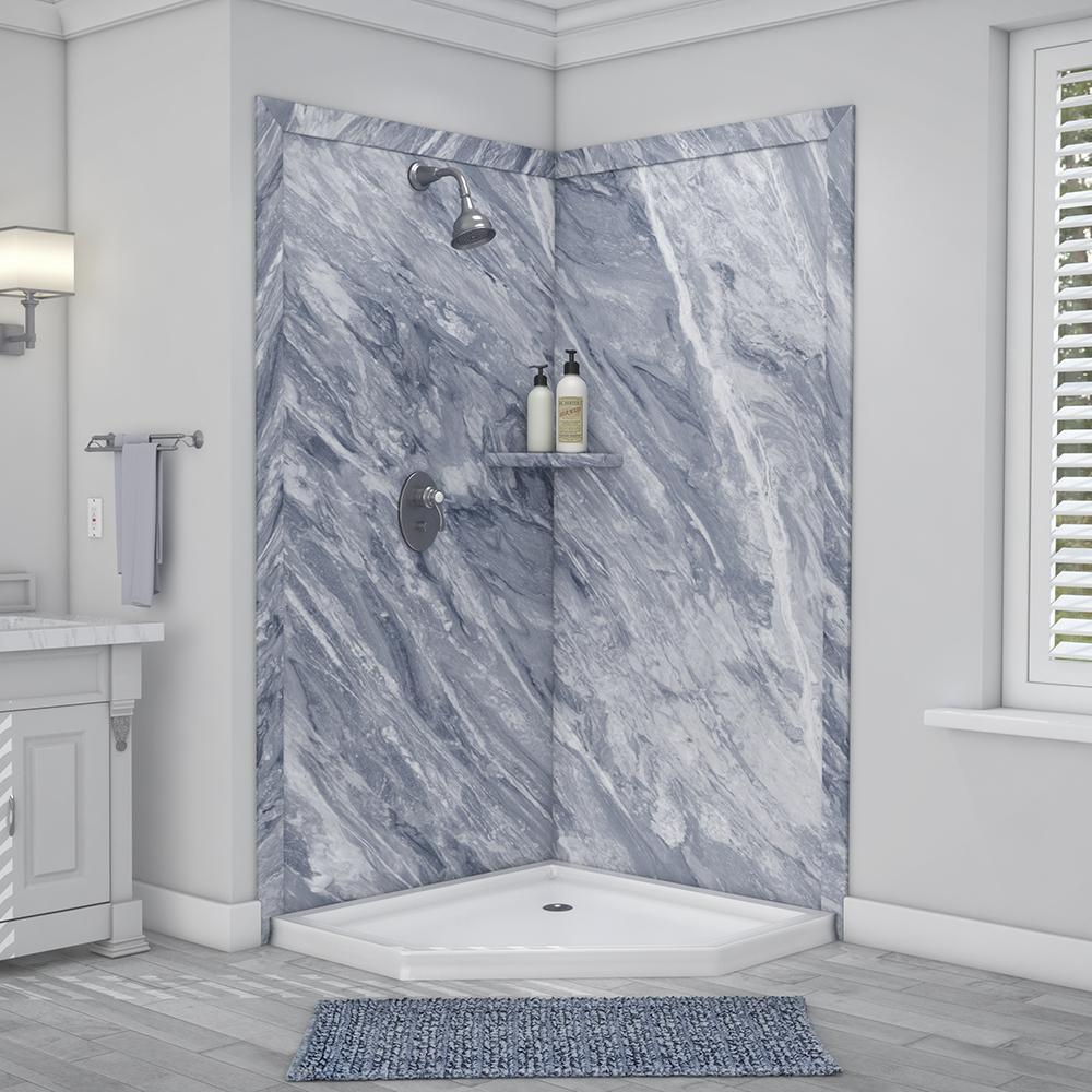 Flexstone Splendor 40 In X 40 In X 80 In 7 Piece Easy Up Adhesive Corner Shower Wall Surround