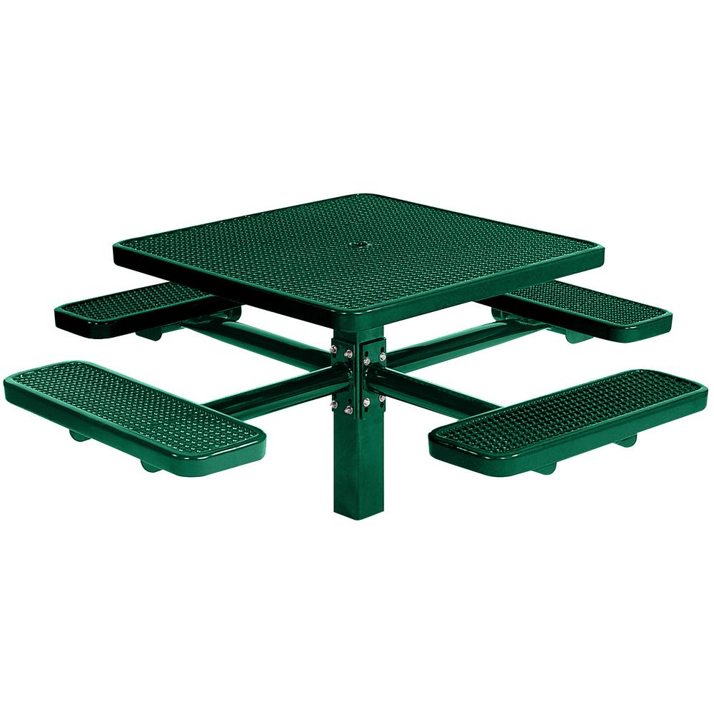 Tradewinds Park 46 in. Green Commercial Square Picnic Table with 4 Seats