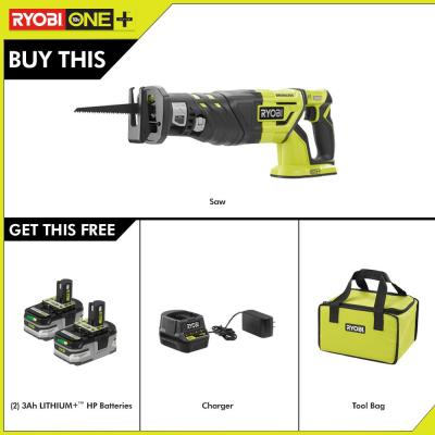 18-Volt ONE+ Brushless Reciprocating Saw w/Free ONE+ LITHIUM+ HP 3 Ah Battery 2-Pack Starter Kit w/ Charger & Bag