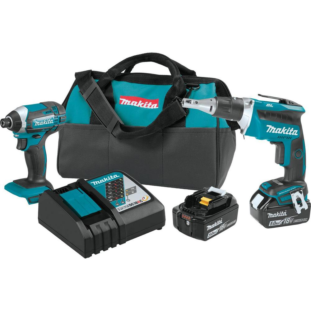 Makita 18-Volt 5.0Ah LXT Lithium-Ion Cordless Combo Kit (2-Piece) (Impact Driver/ Brushless Drywall Screwdriver)