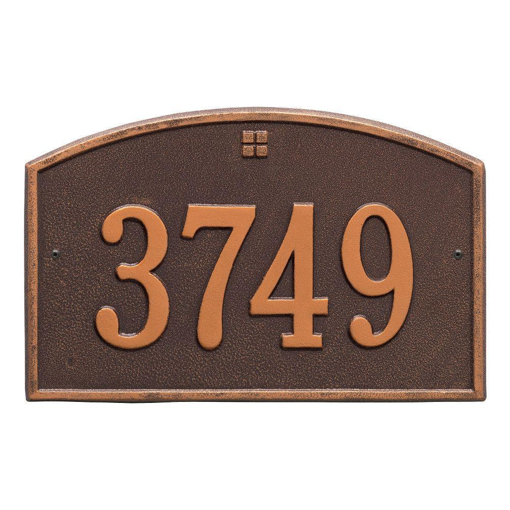 Cape Charles Standard Rectangular Antique Copper Wall 1-Line Address Plaque
