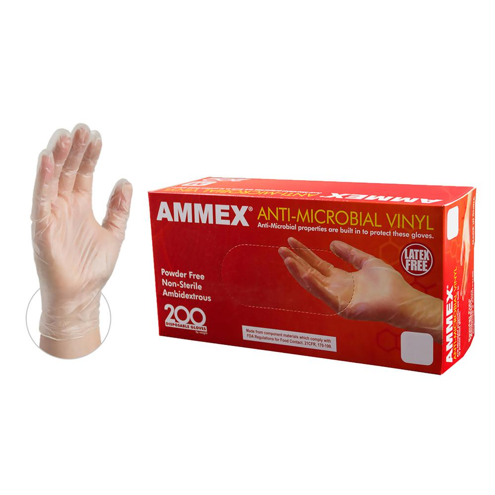 Clear Anti-Microbial Vinyl Industrial Powder Free Disposable Gloves (Box of 200)