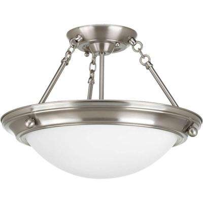 Eclipse Collection 2-Light Brushed Nickel Semi-Flush Mount Light