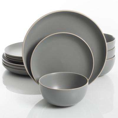 Rockaway 12-Piece Grey Matte Glaze Dinnerware Set