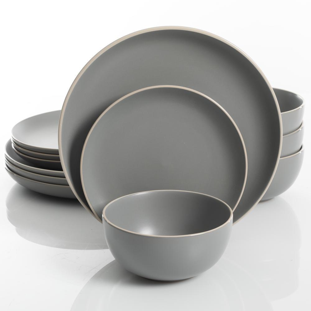 Rockaway 12-Piece Grey Matte Glaze Dinnerware Set