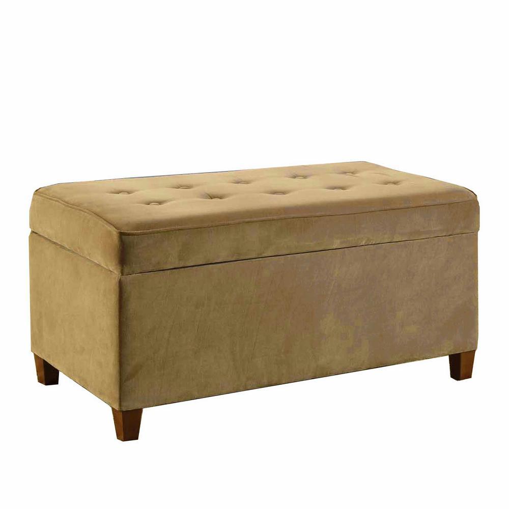 Decorative Mocha Micro-Suede Storage Bench