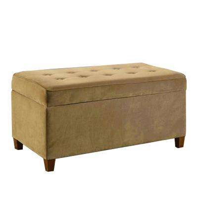 Decorative Mocha Micro-Suede Storage Bench
