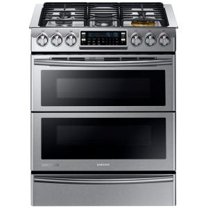 Click here to buy Samsung 30 inch 5.8 cu. ft. Slide-In Dual Door Double Oven, Dual Fuel Range with Self-Cleaning Convection Oven in Stainless Steel by Samsung.