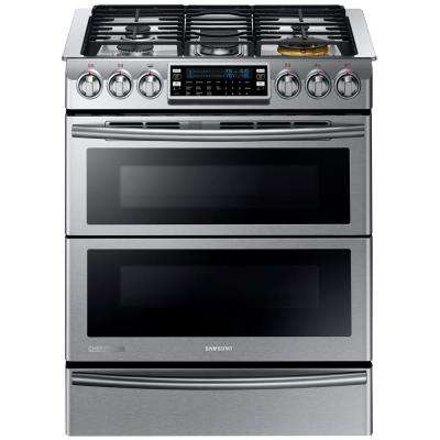 30 in. 5.8 cu. ft. Slide-In Dual Door Double Oven, Dual Fuel Range with Self-Cleaning Convection Oven in Stainless Steel