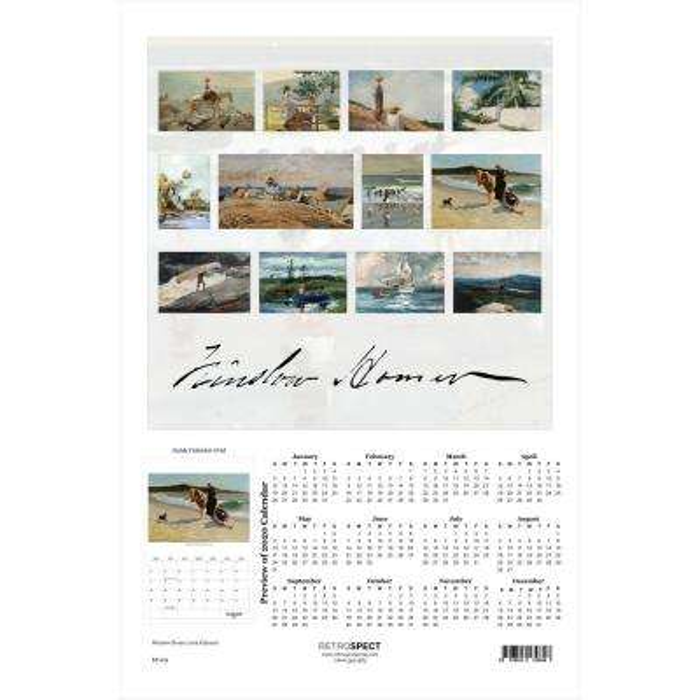 19 in. x 12.5 in. Winslow Homer - 2019 Calendar
