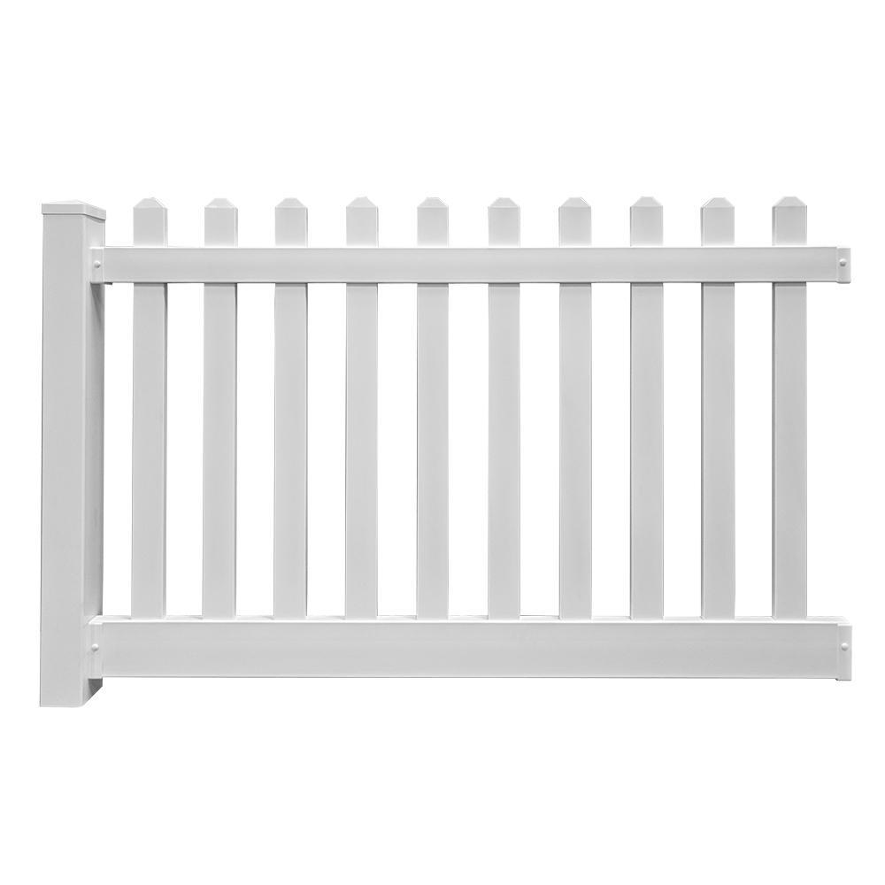 Spokane 4 ft. x 6 ft. White Vinyl Picket Fence Panel EZ Pack
