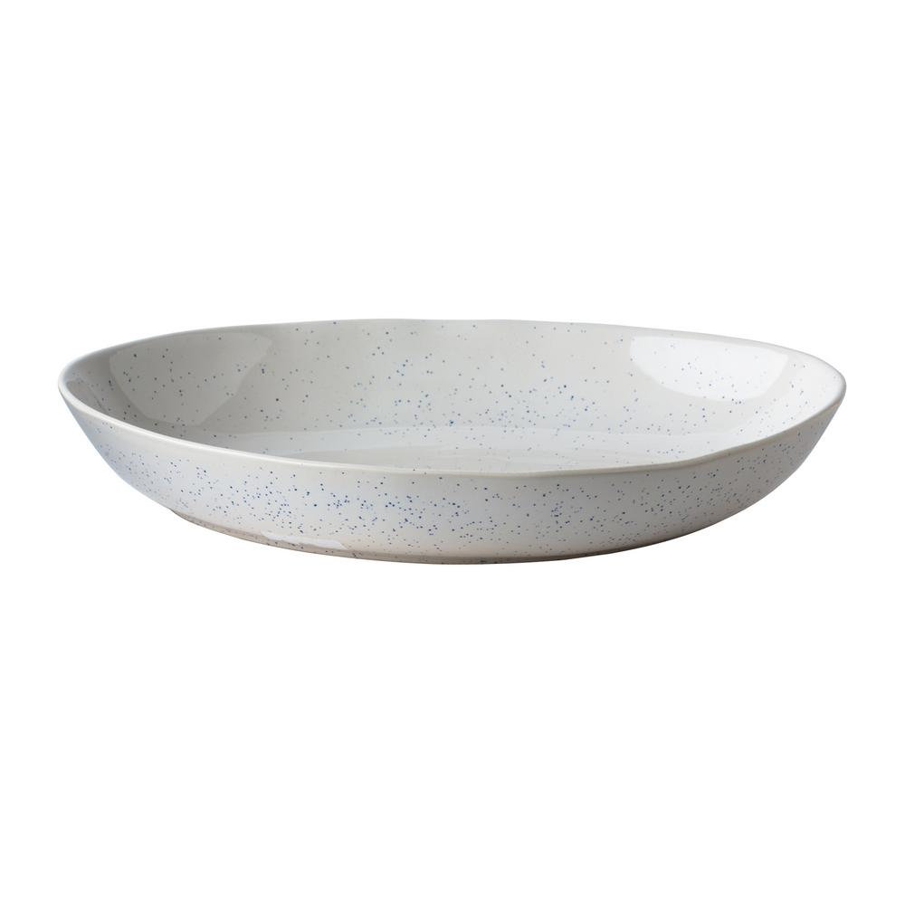 15 in. Milk Street White Stoneware Organic Serving Bowl with Speckled