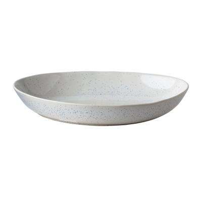 15 in. Milk Street White Stoneware Organic Serving Bowl with Speckled Finish