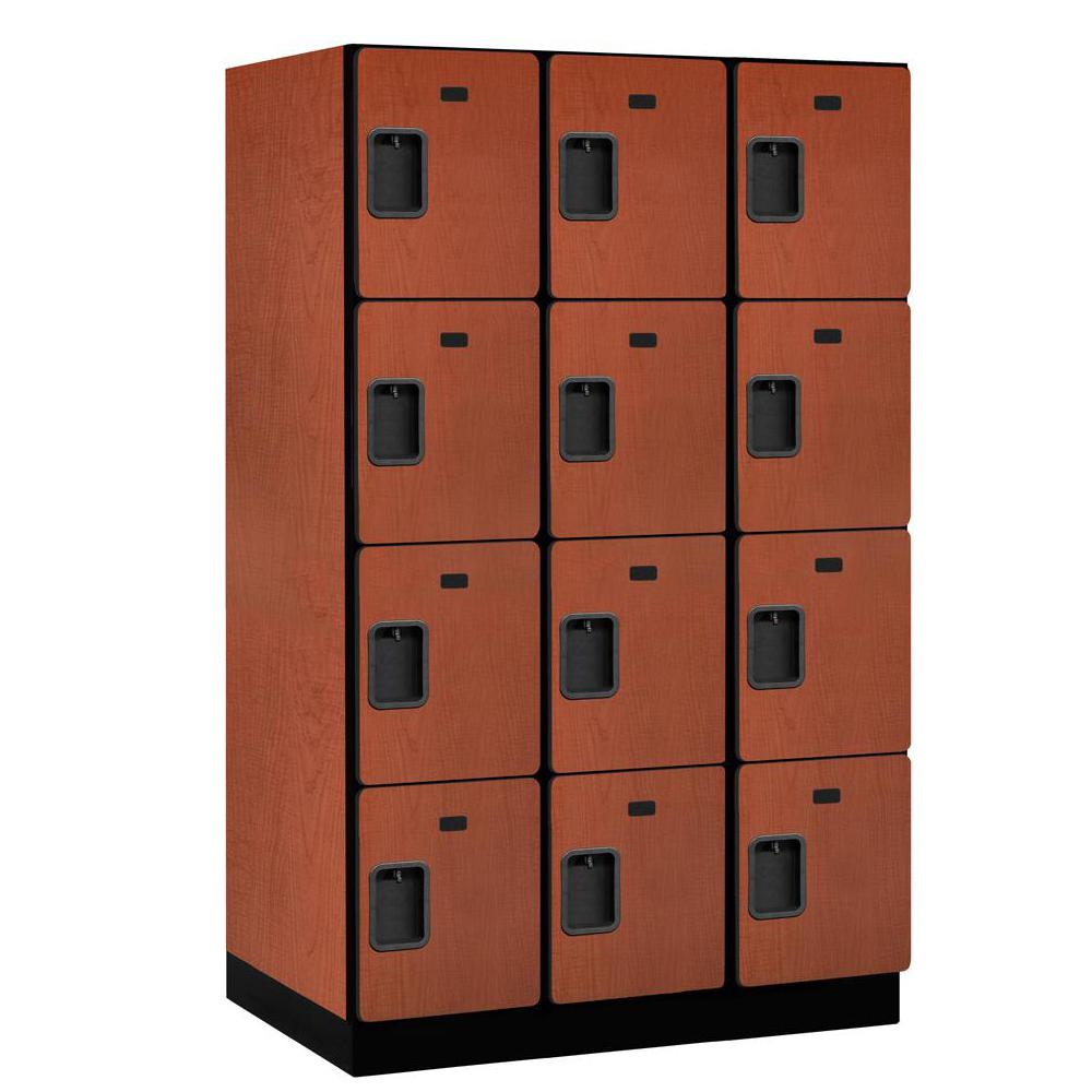 Salsbury Industries 24000 Series 4-Tier 24 in. D 12-Compartments Extra Wide Designer Particle Board Locker in Cherry