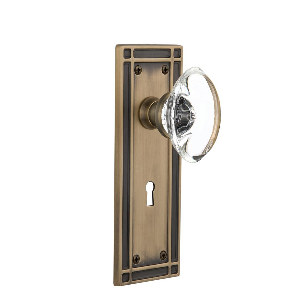 Mission Plate with Keyhole Single Dummy Oval Clear Crystal Glass Door Knob in Antique Brass