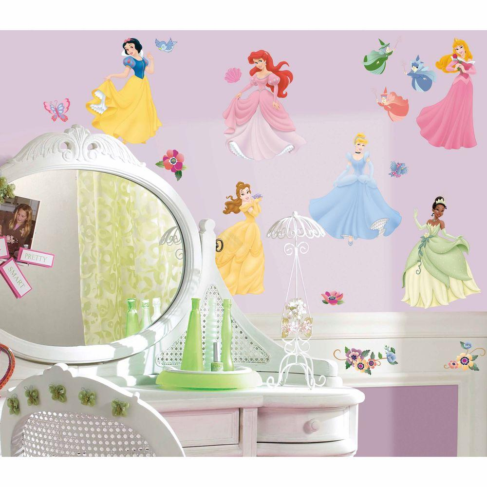 RoomMates 5 in. x 11.5 in. Disney Princess 37-Piece Peel and Stick Wall Decals